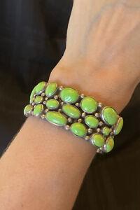 Tribal Green Gaspeite Turquoise Cuff Bracelet by Rocki Gorman DF Sterling Silver