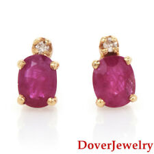 Estate Diamond Ruby 14K Yellow Gold Small Stud Earrings NR