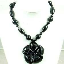 Natural  black agate flower Handmade Gemstone Jewellery Necklace