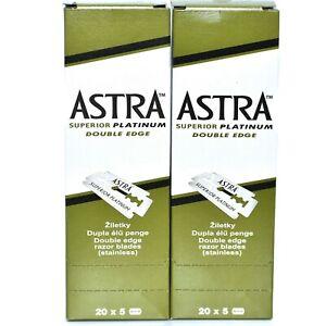 200 ASTRA Super Platinum Smooth Double Edge Safety Razor Blades ( 2 Box of 20x5)