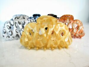 Painted curvy snake like acrylic hair claw clamp clips for thick hair