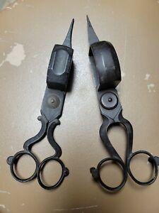 Pair of Antique Ornate Candle Wick Cutter Scissors Snuffer Trimmer