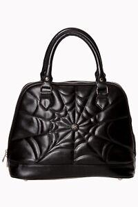 BANNED Apparel Black Gothic Rockabilly Punk Spider Web Malice Bag Handbag