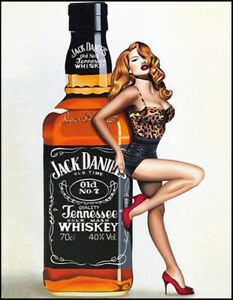 JACK DANIELS Whiskey Bottle Pin Up Sexy Vintage Bar Pub Shed MAN CAVE Metal SIGN