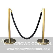 ROPE STANCHION SET, 2 FLAT TOP POSTS, GOLD POLISHED & 1 ROPE