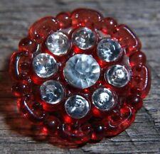 "Vintage Red Cellulose Button rhinestones 1"""