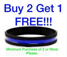 Thin Blue Line Bracelet Wrist Band (1) Silicone Police Support Wristband Cop K-9