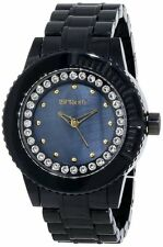 NEW-SPROUT BLACK CORN RESIN+WHITE SWAROVSKI CRYSTALS+MOP DIAL WATCH ST/6506JMCL
