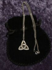 Pewter pendant.Celtic Triangle design.Made in Cornwall.17.5 surgical steel chain