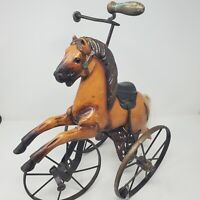 VTG HORSE Victorian style TRICYCLE BIKE FOLK ART HOME DECOR TOY Doll leather