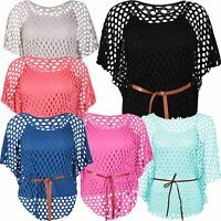 Womens Crochet Cami Sole Inner Vest Mesh Plus Size Belted Batwing Jumper Tops
