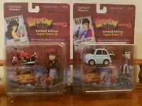 """Lupin Fujiko Pullback ChoroQ Figures Takara Ltd Edition w/ Stand 2"""" LOT OF 2 NEW"""