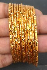 Gold Plated Indian party bangles All time wear Bala Churi Bracelet 12 pcs 2.4''