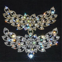 Fashion Bridal Sew On Dress Applique AB Crystal Rhinestone Wedding Supply Trim