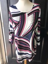 Chico's Zanzibar Rhythm Pink Blue White Black Tunic Top Size 3 XL 16 18