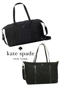 KATE SPADE JAE ELLIE Quilted Black Large X Body Weekender Overnight Duffle Bag