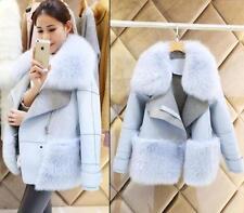 Fashion Womens Winter Faux Fox Fur Collar Jacket Long Coat Trench parka outwear