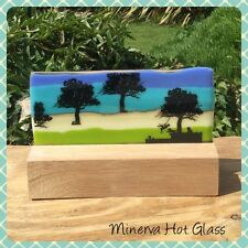 Fused Glass Panel, Woodland Tree Landscape on Hard Wood Stand, Minerva Hot Glass