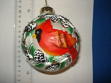 Cardinal Ornament Glass Ball with Cardinal Raised Relief Sylvestri 21331 224