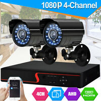 CCTV 4CH 1080P DVR Record 2000TVL IR-CUT Home Security Camera System Kit UK