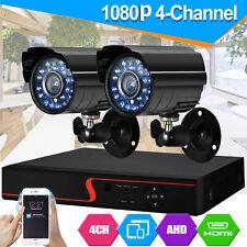 CCTV 4CH 1080P DVR Record 2000TVL IR-CUT Home Security Camera System Kit UK