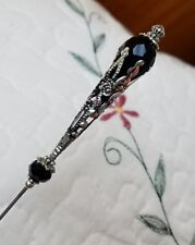 Victorian Hat Pin Vintage Antique Inspired Black Crystal Bead & Filigree Silver.