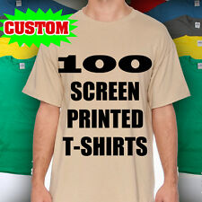 100 CUSTOM SCREEN PRINTED T SHIRTS PRINT ONE COLOR INK 100% COTTON TEE