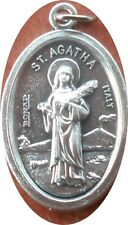 Saint St. Agatha Medal + Breast Cancer, Malta, martyrs, fire quakes + Z