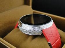 Mens Custom Full Case Digital Red I Gucci YA114212 Genuine Diamond Watch 4 Ct