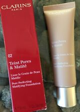 CLARINS 02 Nude Beige Pore Perfecting Matifying Liquid Foundation 30ml RRP £28