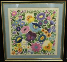 Colourful Framed Blue, Pink, Purple Floral Stitchwork Behind Glass