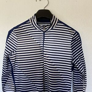 Tail Women's Sun Protection UPF 50 Striped Print Long Sleeve 1/4 Zip Top Size M