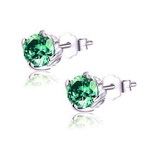 1.0 Cttw Round Created Enerald Sterling Silver Stud Earrings Gifts for Girl