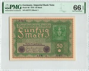 GERMANY 50 Mark 1919, P-66 Imperial Bank Note, PMG 66 EPQ Gem UNC, Large Size