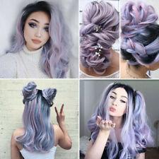 Stylish Ladies Women Long Wigs Light Purple Full Wavy Curly Hair Cosplay Party