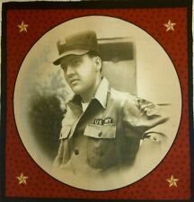 Elvis Army Fatigues Large Pillow Panel  Quilt Square  Fabric 18 x 18  Reduced