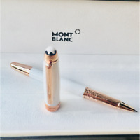 Luxury MB Meisterstuck Solitaire White+Rose Gold Clip Rollerball Pen No Box
