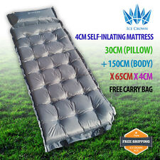 Quality 4cm Thick Firm Joinable Single Self Inflating Mattress Pillow BNE