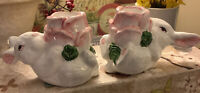 Pair Of Rabbit/Bunny Taper Candle Holders~Handpainted~Cottage/French~FREE SHIP~