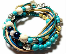 Wrap Leather bracelet, Beaded Leather Artisan Boho cuff turquoise pearls beads