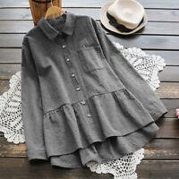 ZANZEA Femme Collège Plissé Manche Longue Vérifier Loisir Chemise Shirt Plus
