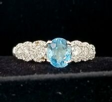 18k white gold  ring 1.00ct. Natural gem blue aquamarine
