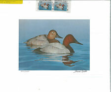 NEW JERSEY  #1 1984  DUCK  STAMP PRINT  CANVASBACKS MEDALLION ED by Tom Hirata