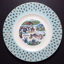 Vintage Idaho Decorative Collectible Souvenir Plate With Blue & Gold Trim 6 1/4""