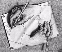 MC Escher 'Drawing hands'  -FINE ART PRINT Escher Art Prints Large