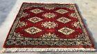 Hand knotted Vintage Pakistan Bokhara Jhaldar Wool Area Rug 2 x 2 Ft (2925 KBN)