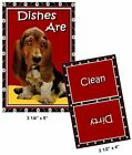 DOG DISHWASHER MAGNET (Basset Hound) - Clean/Dirty *Ship FREE
