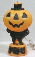 Vtg HALLOWEEN Plastic Blow Mold Light JOL Black Cat Witches Around Base 1960s