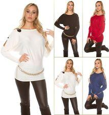 Sexy Koucla Longpullover Fledermaus Pullover Sweater mit Schulterschnallen
