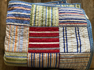Pottery Barn Kids Patchwork Stitched Reversible Twin Quilt  Multicolor EUC